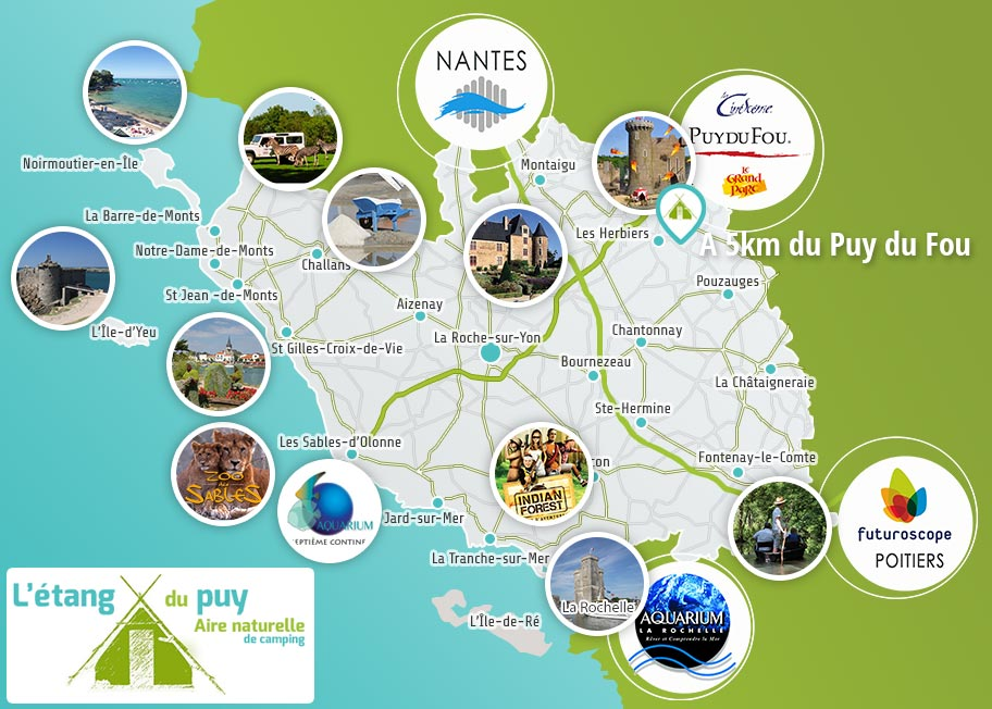 Carte de situation du camping en Vendée